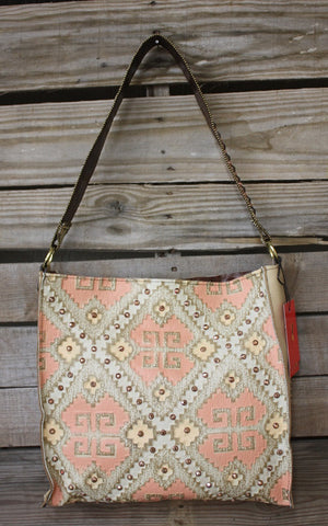 KurtMen Box Tote with Santa Fe Coral and Platinum Embossed Aztec