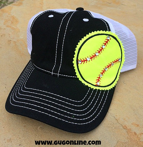 Black Trucker Cap with Softball