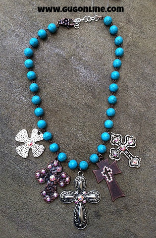 Silver and Copper Cross Charms on Turquoise Necklace