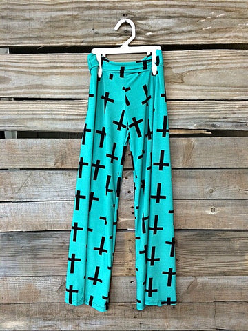 Because He Lives Children's Cross Palazzo Pants in Mint