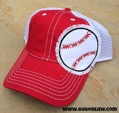 Red Trucker Cap with Baseball