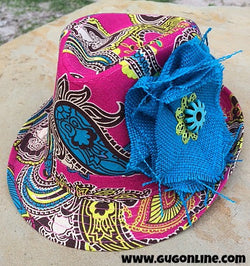 cee6abd1ffe091 Pink Paisley Fedora with Turquoise and Lime Flower – Giddy Up Glamour  Boutique