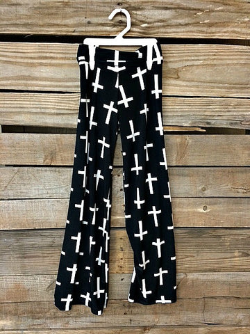 Because He Lives Children's Cross Palazzo Pants in Black