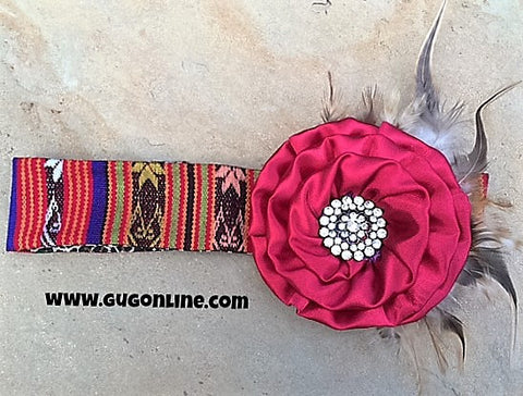 Fancy Red Flower with Black Feathers on Red Serape Headband