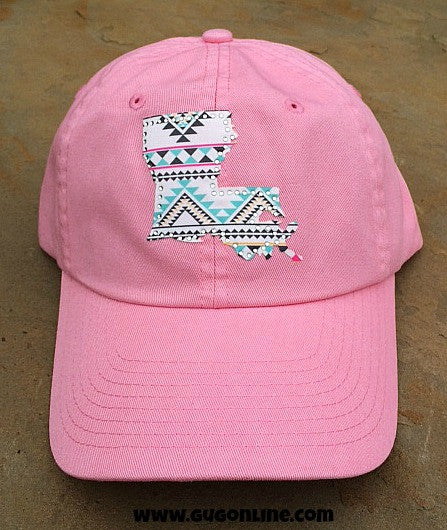 de55b19184c08 Pink Louisiana State Pride Aztec Cap – Giddy Up Glamour Boutique
