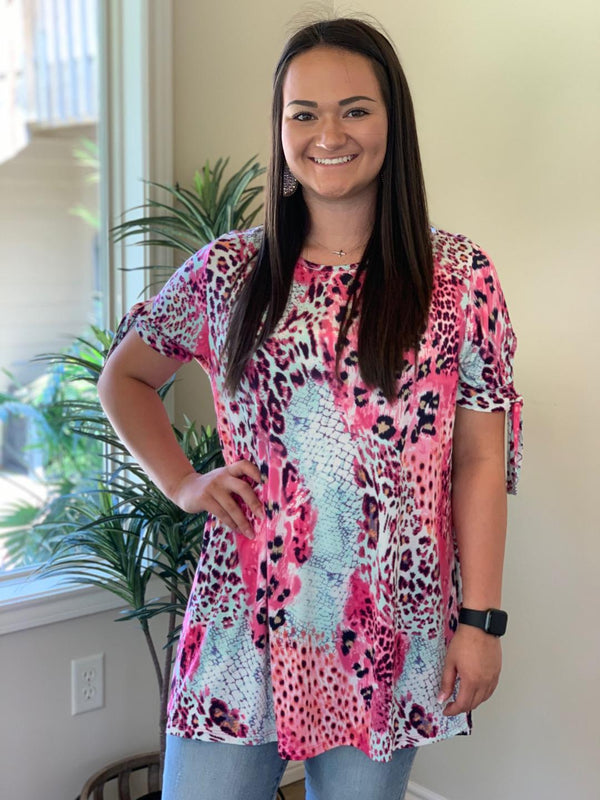 Pink and Mint Leopard Blouse