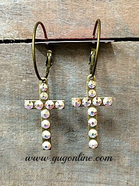 AB Crystals on Bronze Cross Hoop Earrings