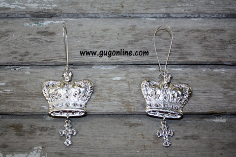 Clear Crystals on Silver Crown Earrings with Cross Dangles