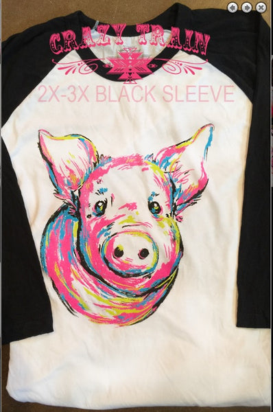 4c36edd3bcc81 Crazy Train Piggly Wiggly Baseball Tee in Black – Giddy Up Glamour Boutique