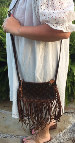 Authentic and Upcycled Pochette Cross Body With Fringe