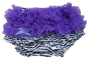 Adorable Zebra Baby Bloomers with Purple Ruffle