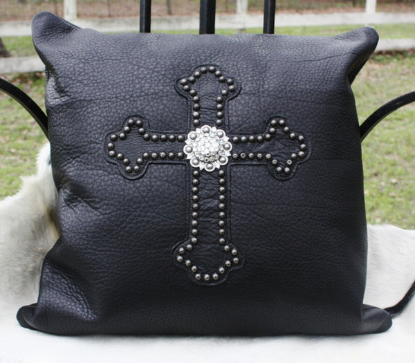 Raviani Black Genuine Italian Leather Cross and Concho Pillow