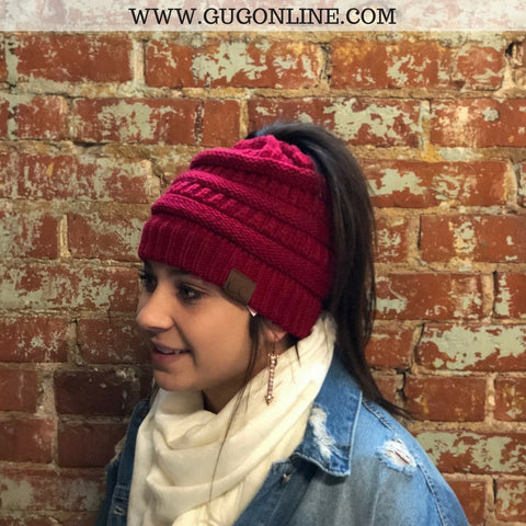 Ponytail CC Beanie in Red