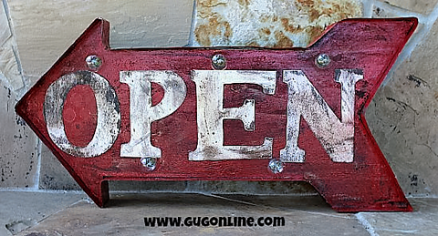 Lighted Rustic Arrow Open Handmade Sign
