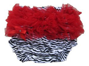 Adorable Zebra Baby Bloomers with Red Ruffle