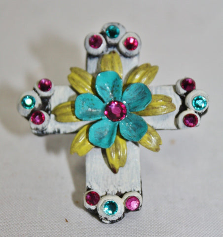 Runnin Wild Floral Cruz White Cross Ring