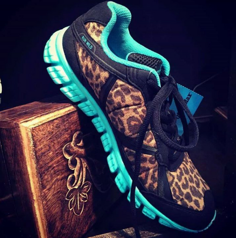 Running Wild Leopard and Turquoise Athletic Shoes