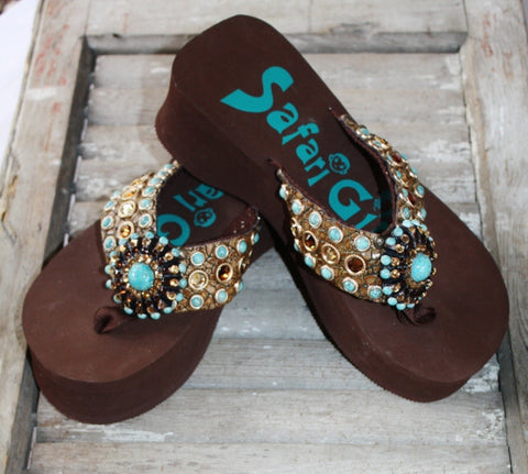 Brown Flip Flops with Turquoise and Bronze Crystals by Safari Girl