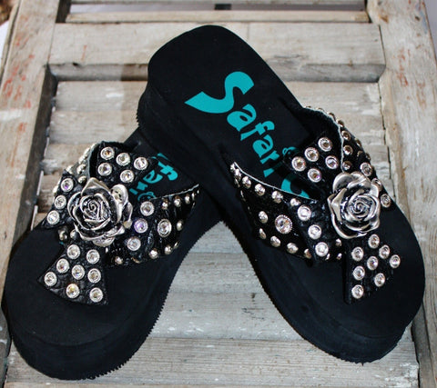 Black Flip Flops with Large Cross Crowned with Silver Rose by Safari Girl