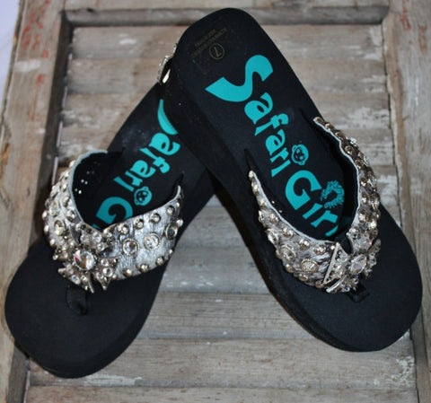 Black Flip Flops with Silver Crosses by Safari Girl