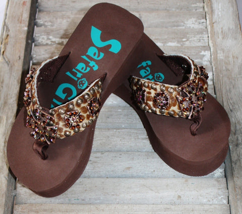 Brown Flip Flops with Cheetah and Crosses by Safari Girl