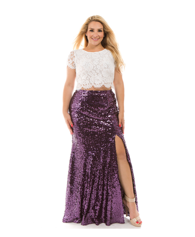 Leave a Little Sparkle Sequin Maxi Skirt with Side Slit in Eggplant Purple