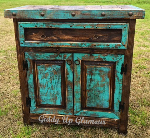 Handmade Reno Rustic Turquoise and Brown Stain Cabinet