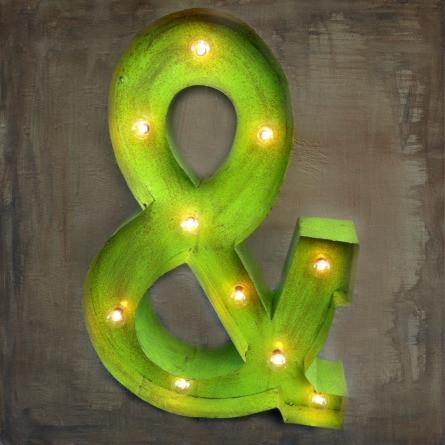 Lighted Rustic Handmade Metal & Sign in White
