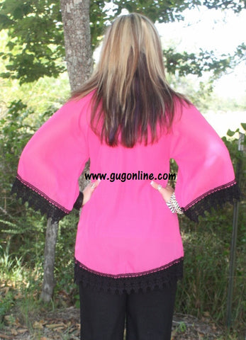 Southern Grace Sheer Top in Hot Pink with Black Lace Trim