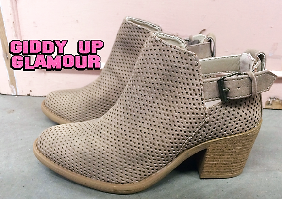 SIZE 5.5 | Textured Buckle Booties in Stone