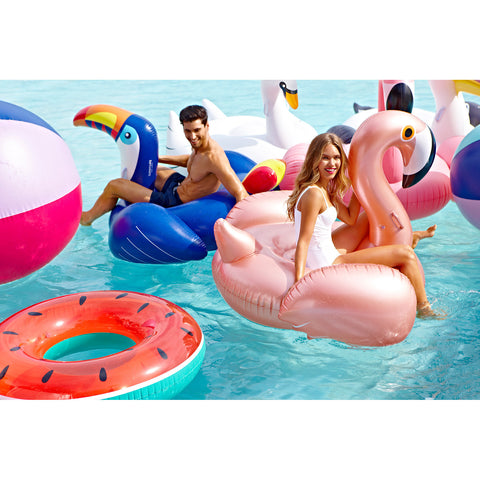 Large Luxe Flamingo Pool Float in Rose Gold