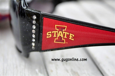 Officially Licensed Collegiate Black Sunglasses with Crystals- Iowa State University