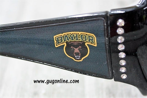 Officially Licensed Collegiate Black Sunglasses with Crystals- Baylor University Bears