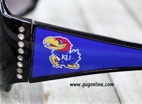 Officially Licensed Collegiate Black Sunglasses with Crystals- The University of Kansas Jayhawks