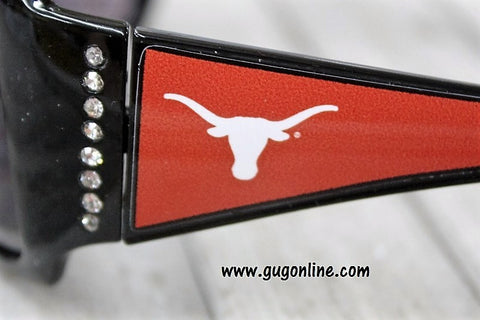 Officially Licensed Collegiate Black Sunglasses with Crystals- University of Texas Longhorns
