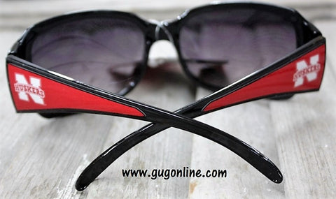 Officially Licensed Collegiate Black Sunglasses with Crystals- The University of Nebraska Cornhuskers