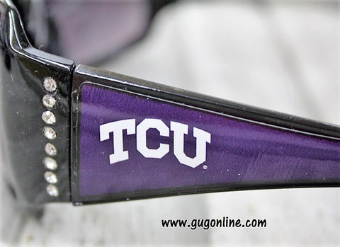 Officially Licensed Collegiate Black Sunglasses with Crystals- Texas Christian University