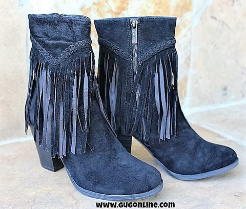 Tall Fringe Ankle Zipper Bootie in Black