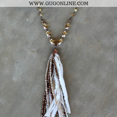 Long Topaz and Bronze Chain Necklace with Ivory Tassel