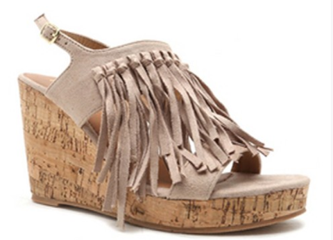 Warpath Fringe Wedges in Taupe, SIZE 6 & 6.5 only