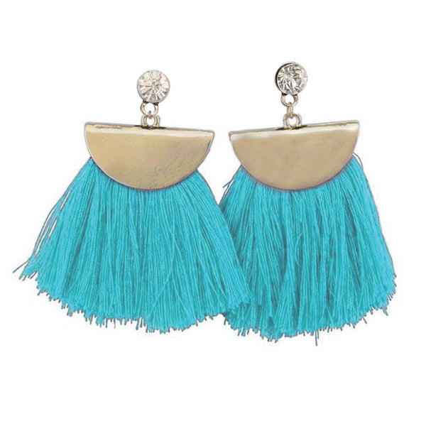 Boho Chic Jewelry Dangle Earrings Tassel Fan Teal