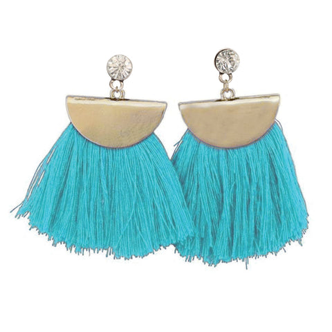 Gold Aruba Fan Tassel Earrings in Teal