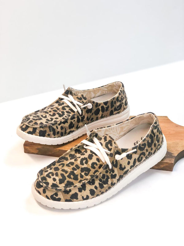 Have To Run Slip On Loafers with Laces in Leopard