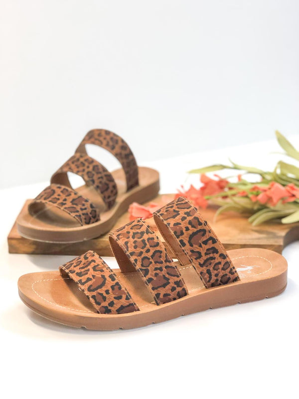 Corky's | Dafne Three Strap Slide On Sandals in Leopard