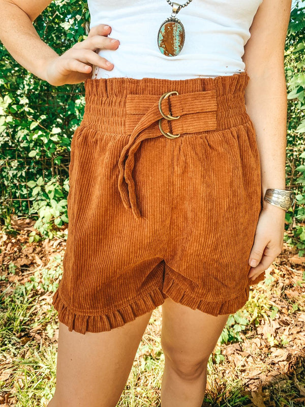 Good Thing About It Corduroy Paper Bag Shorts in Rust