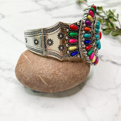 Multi Color Stone Cluster Bracelet with Tooled Metal in Silver