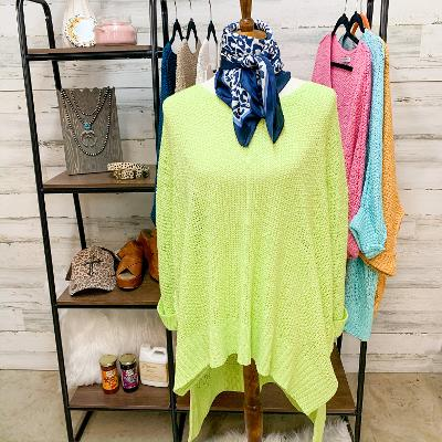 With All My Heart Oversized Knit Sweater in Lime Green