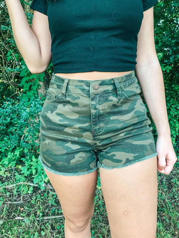 Judy Blue | For The Record High Waist Shorts with Frayed Hem in Camouflage