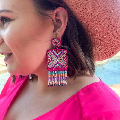 Bahama Mama Beaded Square Drop Earrings in Multi Fuchsia