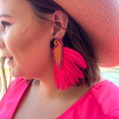 Bird Of Paradise Parrot Earrings with Pink Feathers